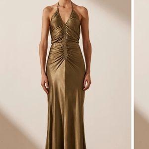 NWT Shona Joy Gala Halter Ruched Midi Dress